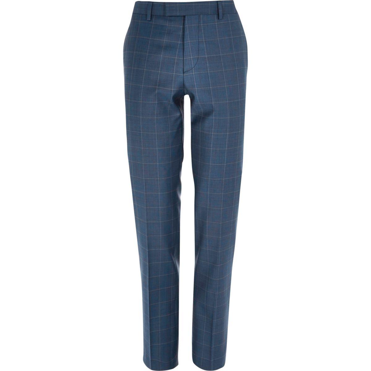 Blue check slim suit trousers