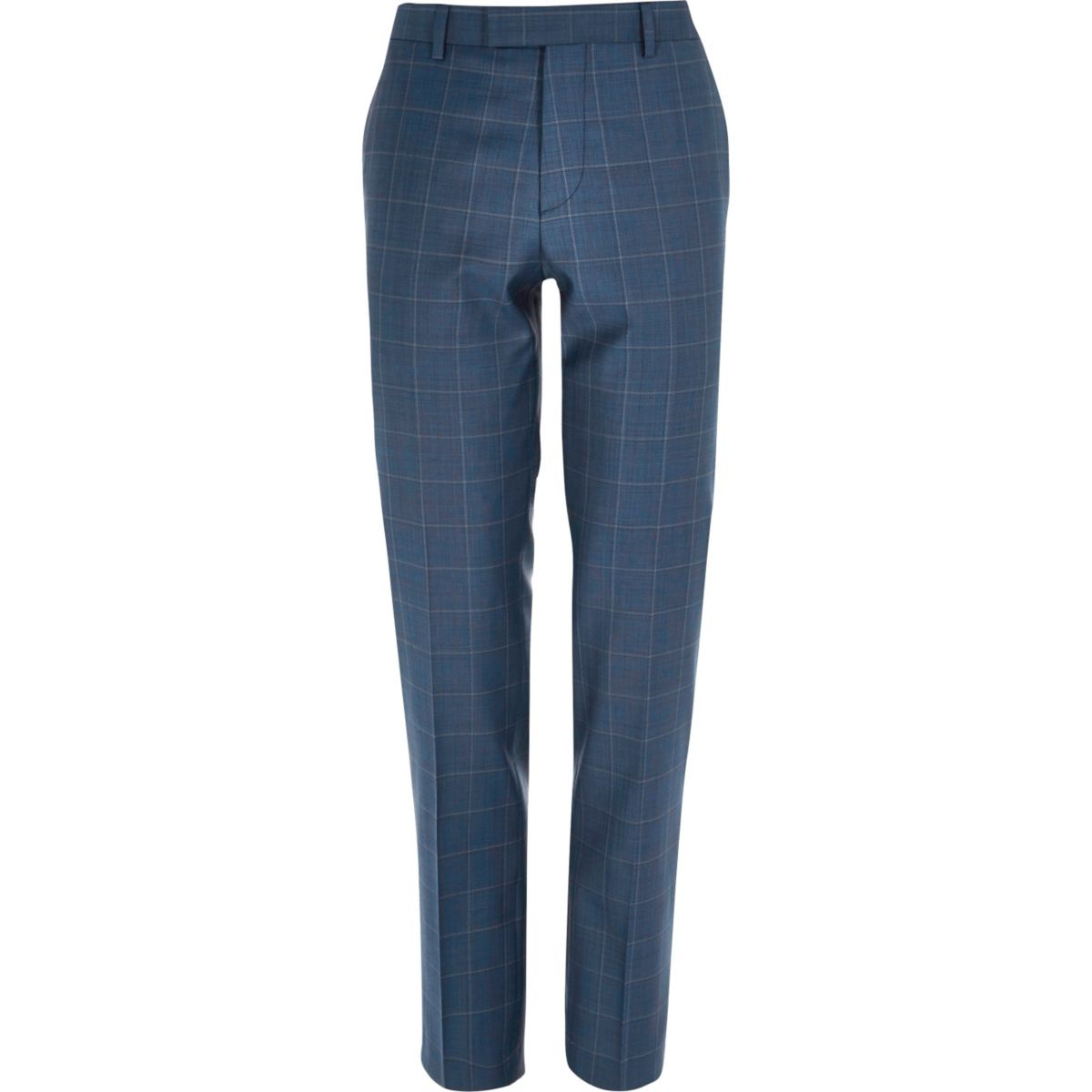 Pantalon de costume slim bleu à carreaux