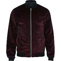Red velvet bomber jacket