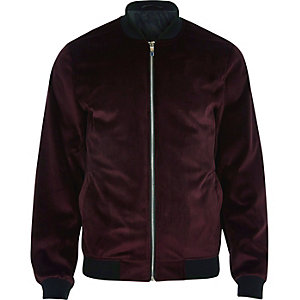 Red velvet bomber jacket