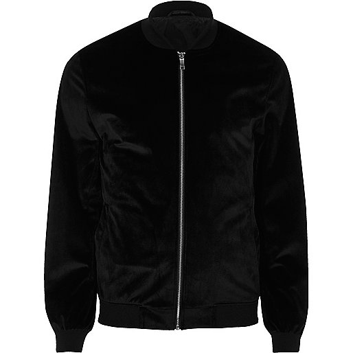 Black velvet bomber jacket