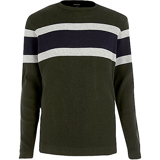 Dark green block stripe jumper