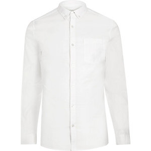 White casual skinny stretch Oxford shirt