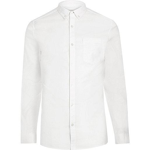 Weißes, schmales, casual Oxford-Hemd