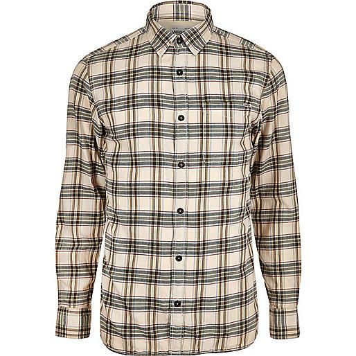 Chemise Maywood Jack & Jones Vintage écru à carreaux