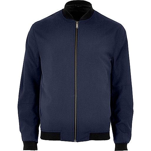 Petrol blue formal bomber jacket