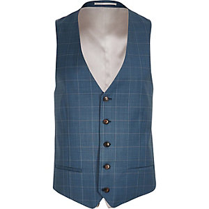 Blue check slim fit waistcoat