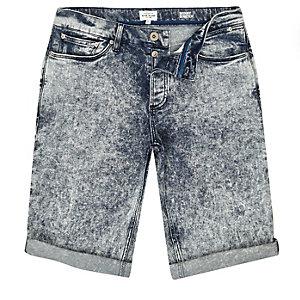 Dark acid wash skinny fit denim shorts