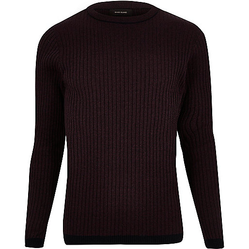 Dark red contrast hem sweater