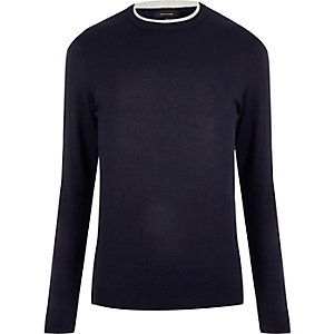Navy contrast neck sweater