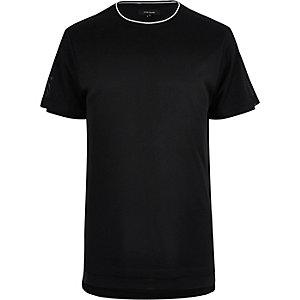 Black longline mesh T-shirt