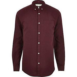Bessenrood casual slim-fit Oxford overhemd