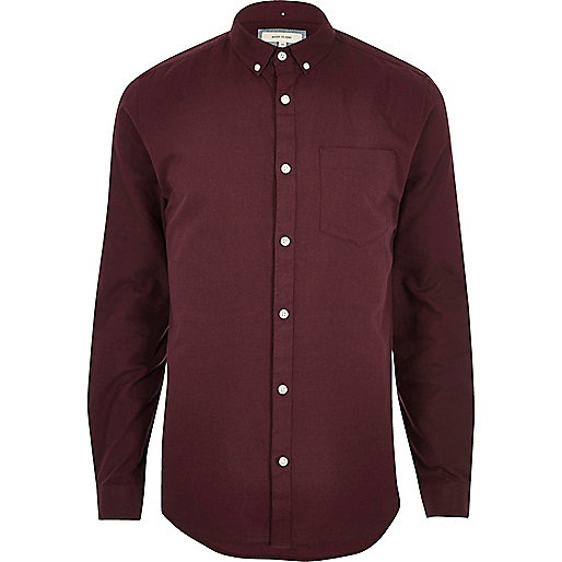 Chemise Oxford casual rouge baie coupe slim