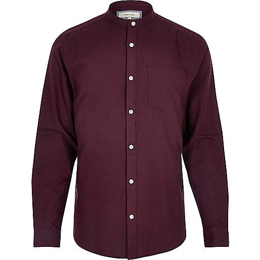 Chemise Oxford coupe slim à col grand-père rouge baie
