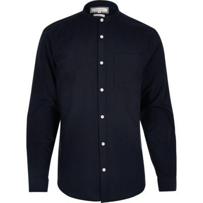 Marineblauw casual slim-fit Oxford overhemd zonder kraag thumbnail