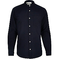 Navy casual slim fit grandad Oxford shirt