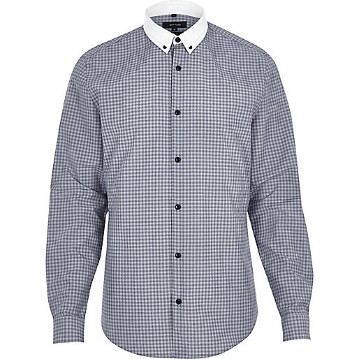 Navy smart check shirt