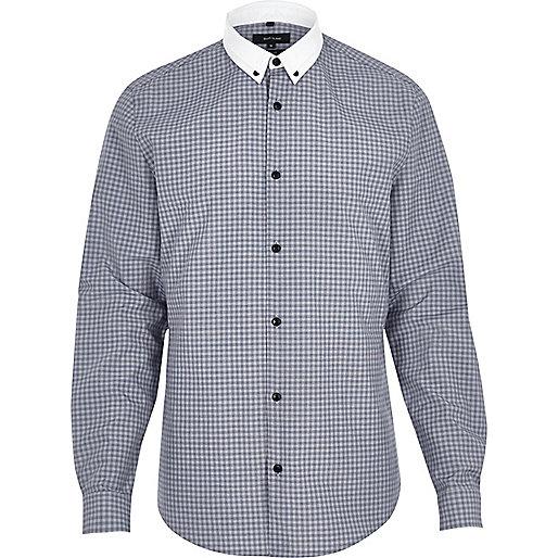 Chemise à carreaux bleu marine habillée