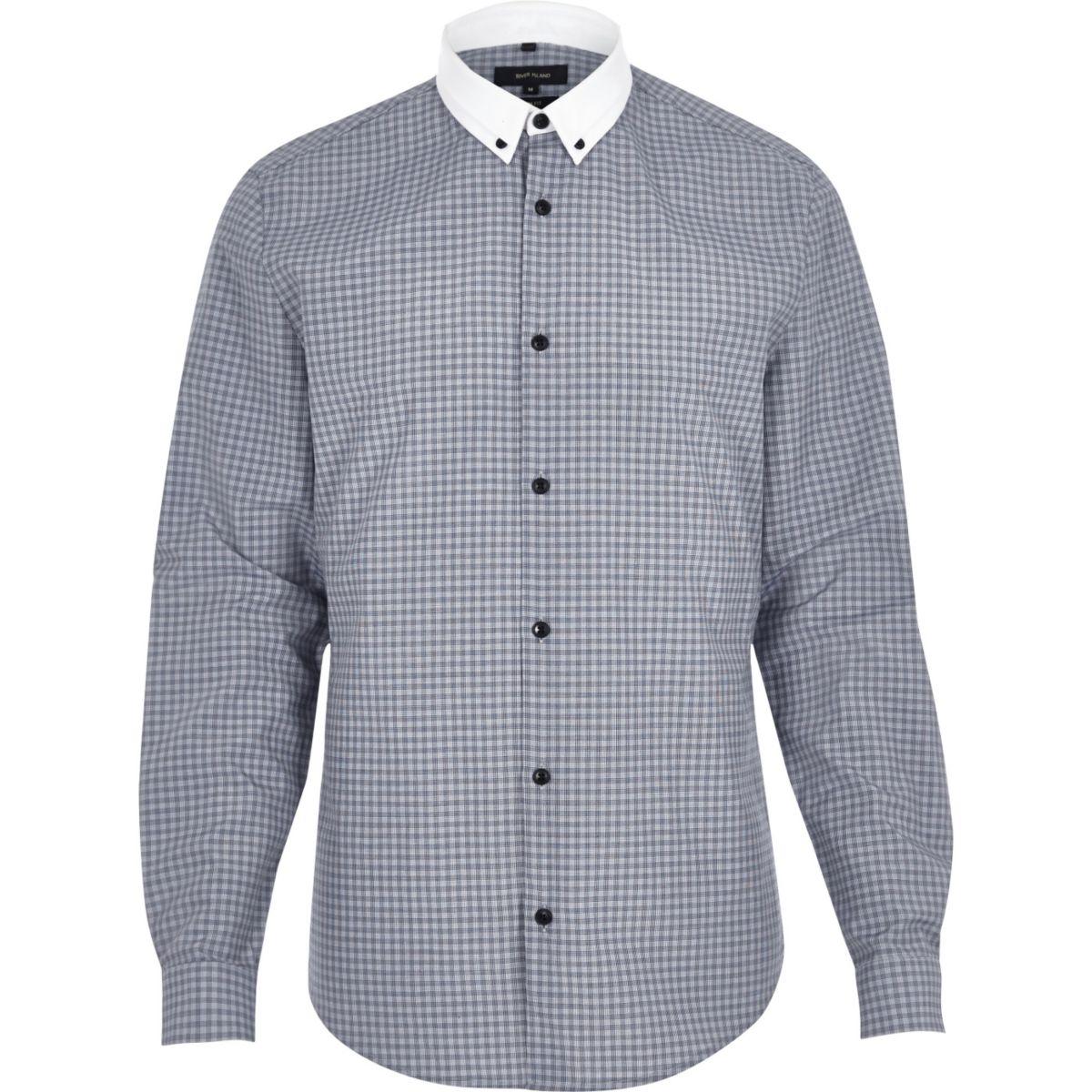 Navy smart check shirt
