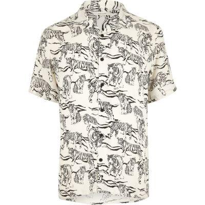 Ecru overhemd met korte mouwen en tijgerprint