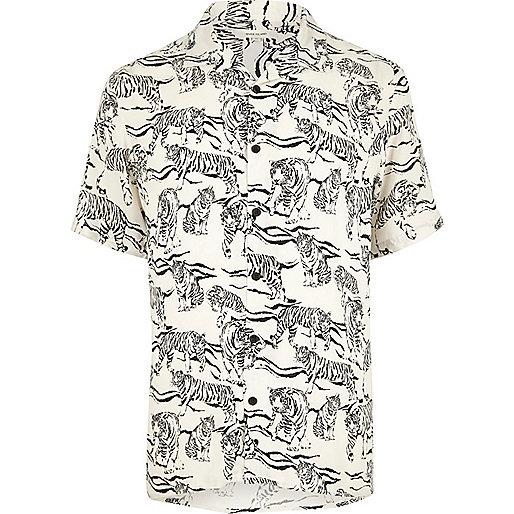 Ecru tiger print short sleeve shirt