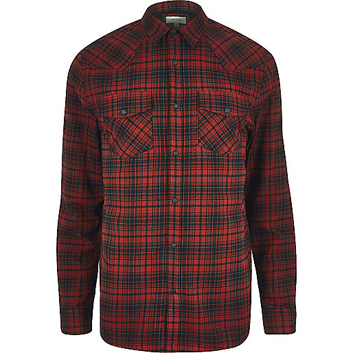 Red western check shirt