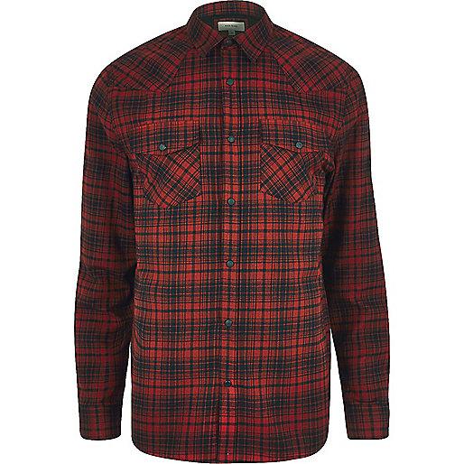 Chemise à carreaux rouge style western