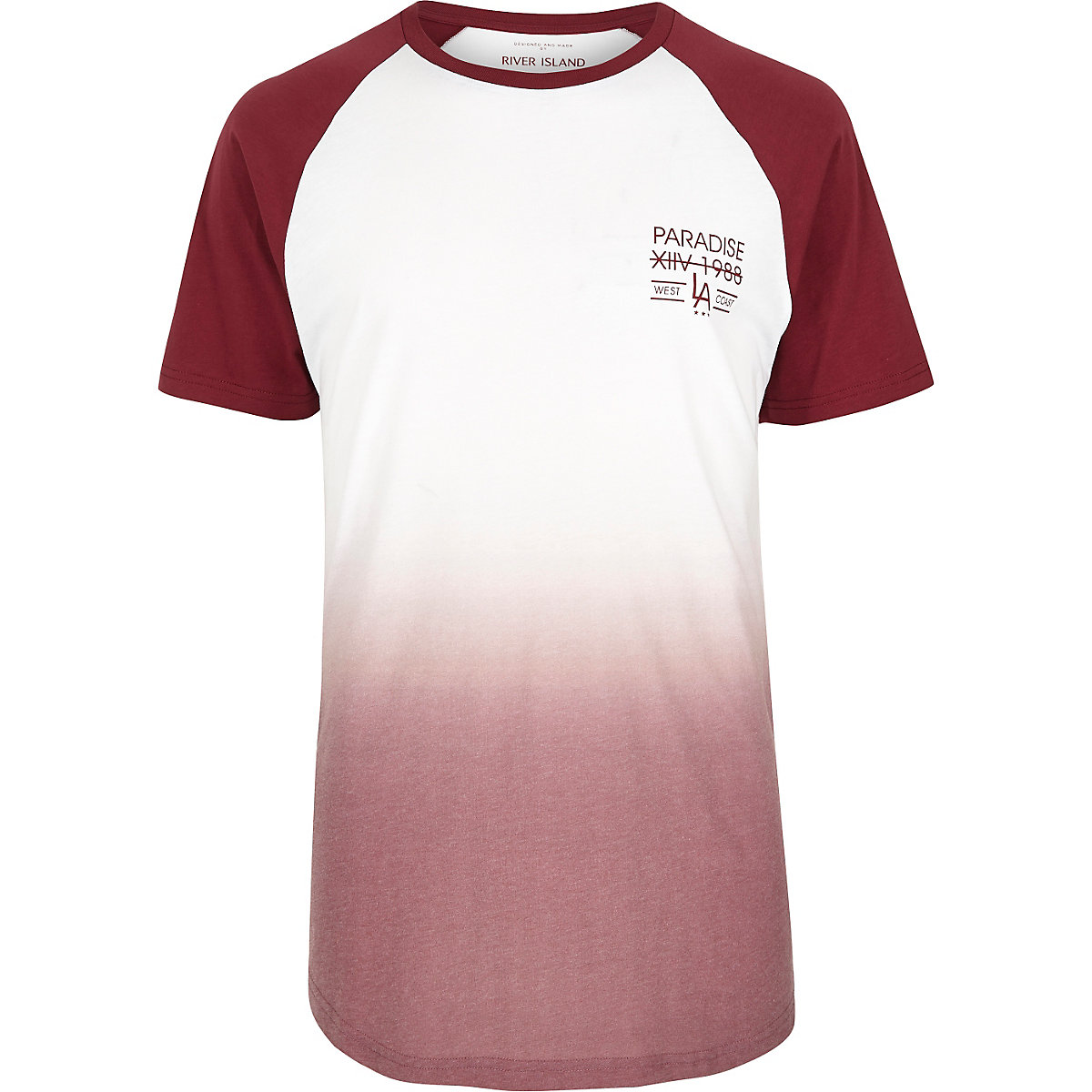 Burgundy faded print longline T-shirt