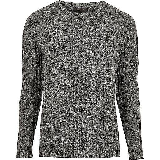 Dark grey ribbed sweater
