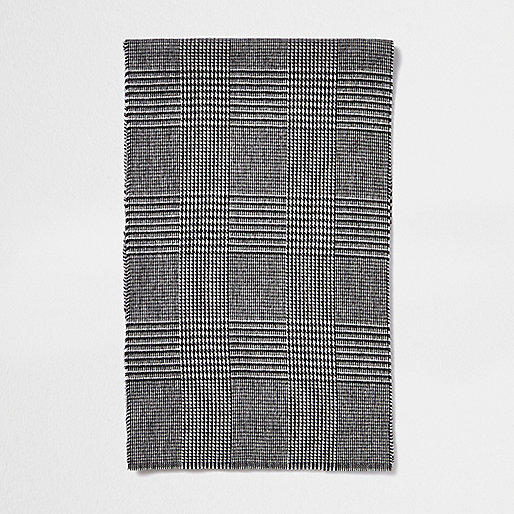 Grey Prince Of Wales plaid scarf