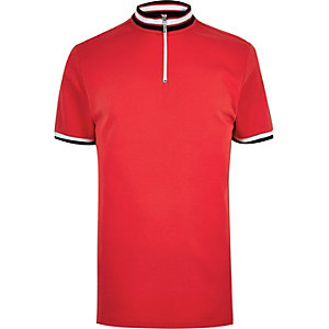 Red slim fit turtle neck polo shirt