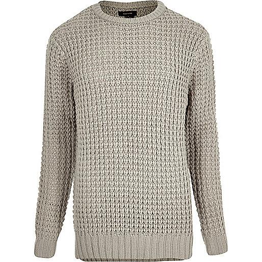 Stone chunky waffle sweater