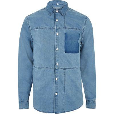 Blauw overhemd met denim panelen