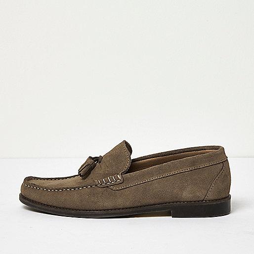 Dark green suede tassel loafers