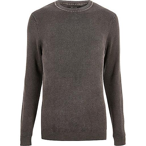 Pullover mit Waschung und Rippdetail in Anthrazit