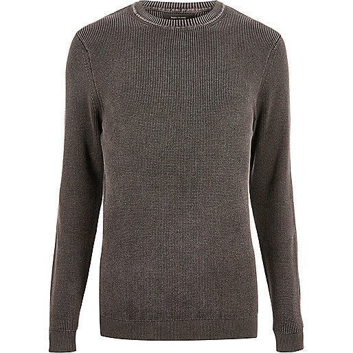Charcoal grey ribbed detail sweater