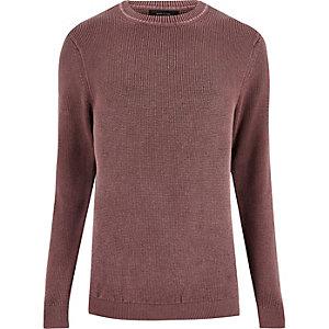 Washed pink textured jumper
