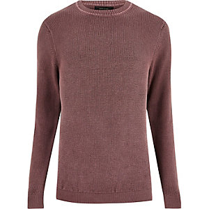 Washed pink textured sweater
