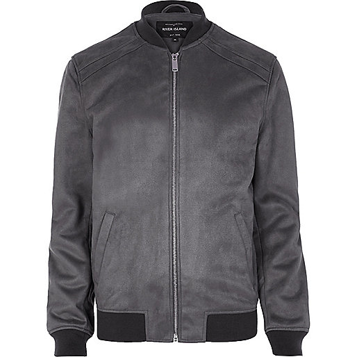Grey faux suede bomber jacket