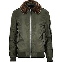 Khaki faux fur collar aviator jacket