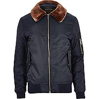 Navy faux fur collar aviator jacket