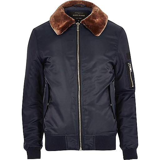 Navy faux fur collar aviator jacket