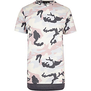 Pink camo longline T-shirt