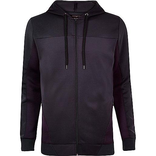 Navy mesh panel zip up hoodie