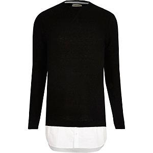 Zwarte pullover met overhemdeffect