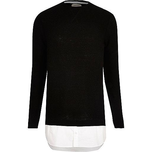 Schwarzer Pullover mit Hemd-Einsatz