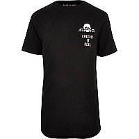Black 'creepin it real' longline T-shirt