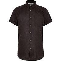 Schwarzes, kurzärmliges Leinenhemd