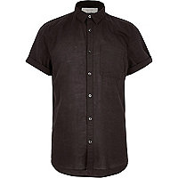 Black linen-rich short sleeve shirt