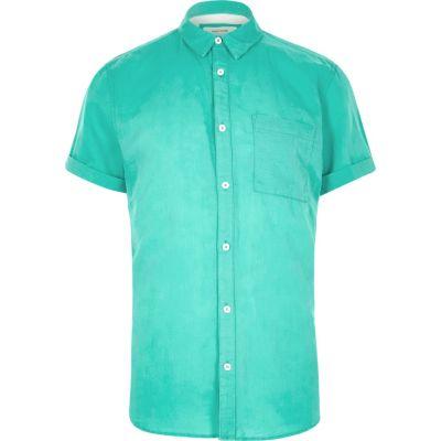 Turquoise overhemd met korte mouwen en hoog linnenpercentage